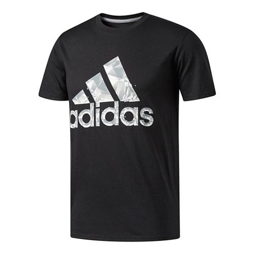 Mens Adidas Adi Shatter Tee Short Sleeve Technical Tops - Black/Grey/White S