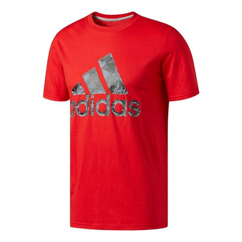 Mens Adidas Adi Shatter Tee Short Sleeve Technical Tops - Scarlet/Black/Grey XL