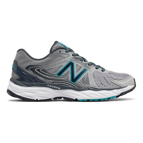 Womens New Balance 680v4 Running Shoe - Grey/Teal 7.5