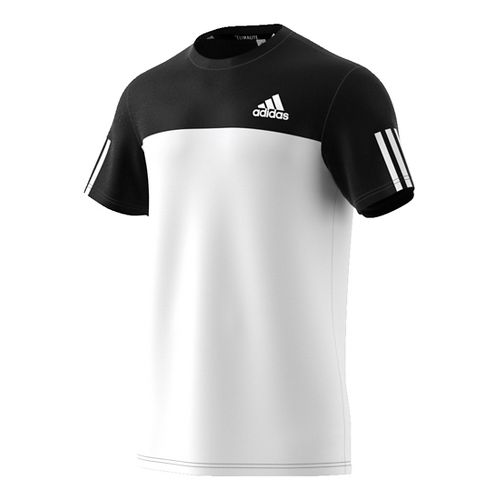 Mens Adidas Essentials Tech Color block Tee Short Sleeve Technical Tops - Black/White S