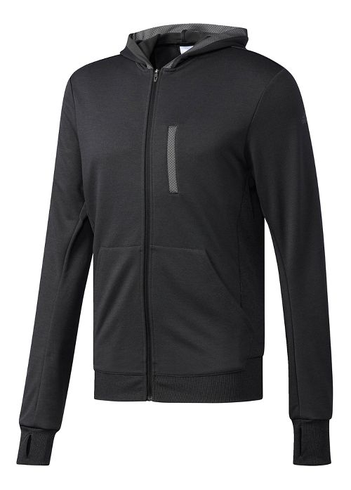 Mens Adidas Beyond The Run Half-Zips & Hoodies Technical Tops - Black L