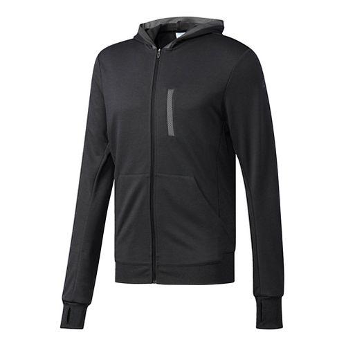 Mens Adidas Beyond The Run Half-Zips & Hoodies Technical Tops - Black S