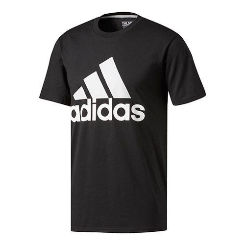 Mens Adidas Badge Of Sport Classic Tee Short Sleeve Technical Tops - Black/Grey M