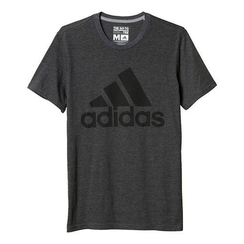 Mens Adidas Badge Of Sport Classic Tee Short Sleeve Technical Tops - Heather Grey XL ...