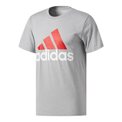 Mens Adidas Badge Of Sport Classic Tee Short Sleeve Technical Tops - Red/Grey XXL