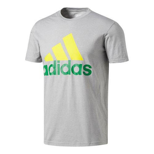 Mens Adidas Badge Of Sport Classic Tee Short Sleeve Technical Tops - Green/Yellow M