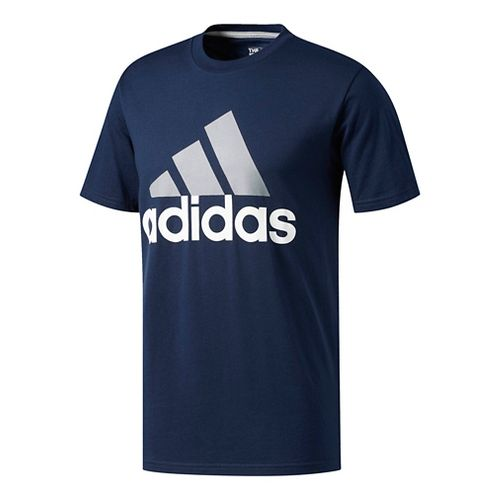 Mens Adidas Badge Of Sport Classic Tee Short Sleeve Technical Tops - Navy/Grey/White XL