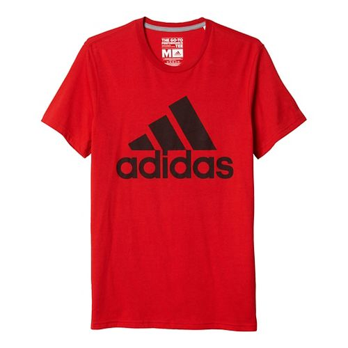 Mens Adidas Badge Of Sport Classic Tee Short Sleeve Technical Tops - Light Grey Heather M