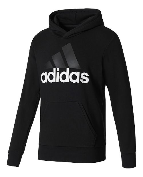 Mens adidas Essential Linear French Terry Half-Zips & Hoodies Technical Tops - Black/White XL