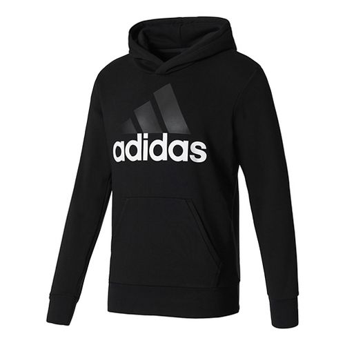 Mens adidas Essential Linear French Terry Half-Zips & Hoodies Technical Tops - Black/White XXL