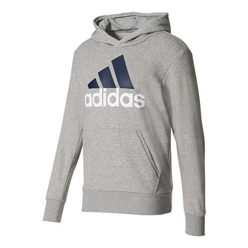 Mens Adidas Essential Linear French Terry Half-Zips & Hoodies Technical Tops - Grey Heather S