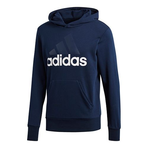 Mens Adidas Essential Linear French Terry Half-Zips & Hoodies Technical Tops - Navy/White XL