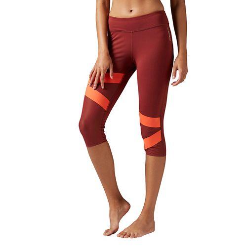 Womens Reebok Cardio Capri Tights & Leggings Pants - Maroon L