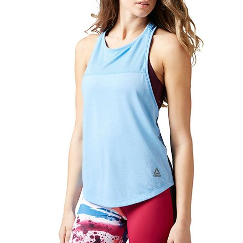 Womens Reebok Quik Cotton Muscle Sleeveless & Tank Tops Technical Tops - Sky Blue XS