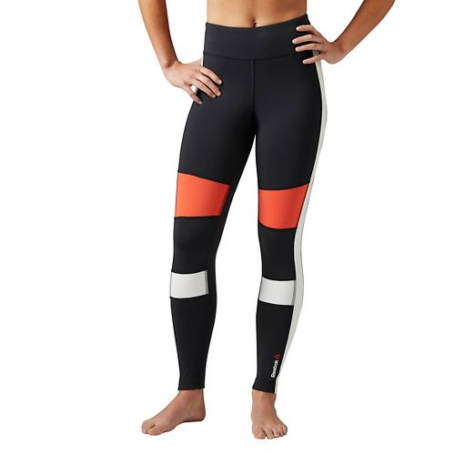 Womens Reebok Color Block Tights & Leggings Pants - Black M