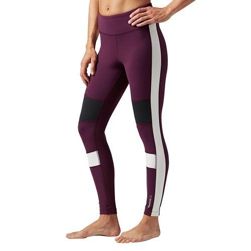Womens Reebok Color Block Tights & Leggings Pants - Pacific Purple S