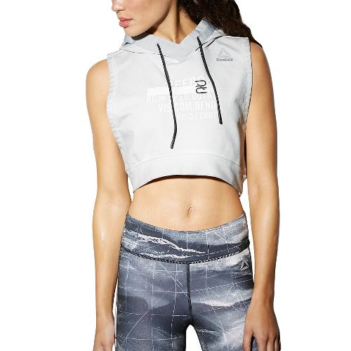 Womens Reebok Combat Glory Hoodie Sleeveless & Tank Tops Technical Tops - Skull Grey XS ...