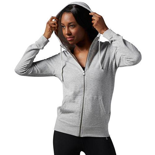 Womens Reebok Elements Full-Zip Half-Zips & Hoodies Technical Tops - Grey Heather XS