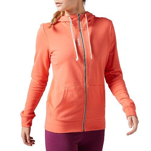 Womens Reebok Elements Full-Zip Half-Zips & Hoodies Technical Tops - Coral S
