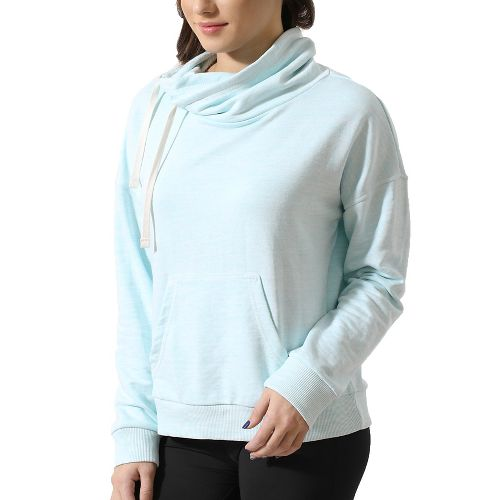 Womens Reebok Elements Marble Cowl Neck Long Sleeve Technical Tops - Mist L