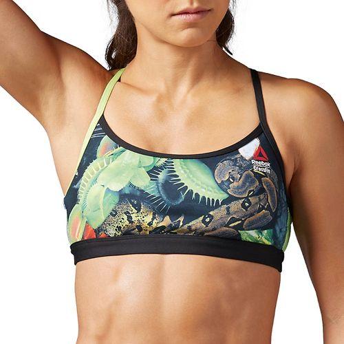 Womens Reebok CrossFit Front Rack Sports Bras - Black Jungle L
