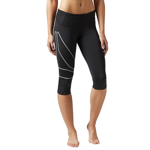 Womens Reebok Running Capri Tights & Leggings Pants - Black XS
