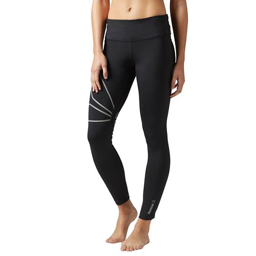 Womens Reebok Running Tights & Leggings Pants - Black XXS