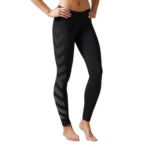 Womens Reebok Quik Cotton Burnout Tights & Leggings Pants - Black XS