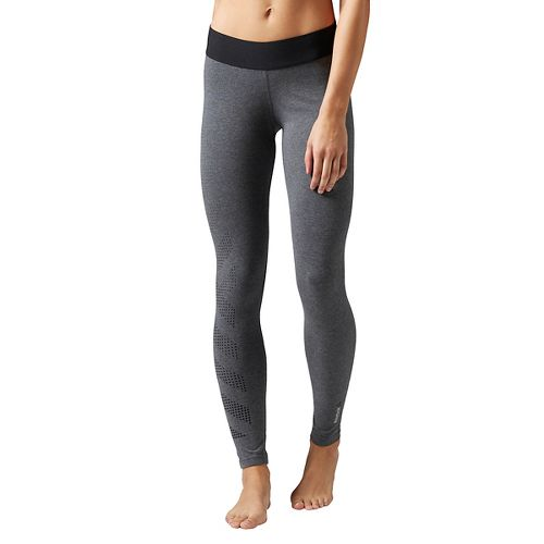 Womens Reebok Quik Cotton Burnout Tights & Leggings Pants - Grey Heather L