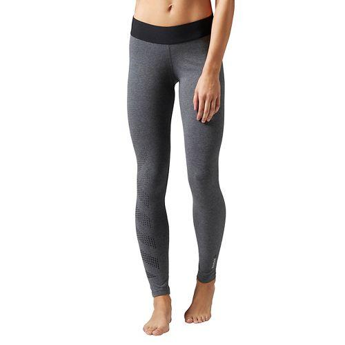 Womens Reebok Quik Cotton Burnout Tights & Leggings Pants - Grey Heather XS