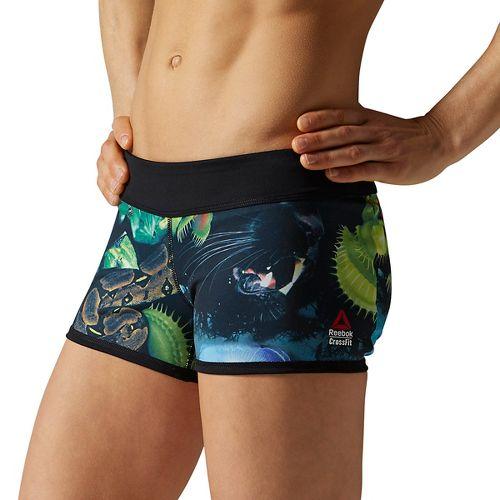 Womens Reebok CrossFit Reversible Hidden Jungle Bootie Unlined Shorts - Black XL
