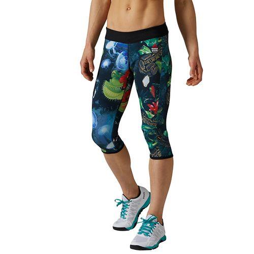 Womens Reebok CrossFit Reversible Hidden Jungle Chase Capri Tights & Leggings Pants - Black S ...