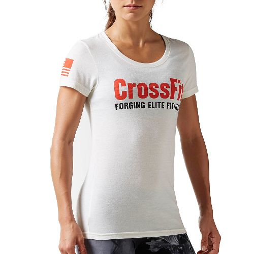 Womens Reebok CrossFit Forging Elite Fitness Tee Short Sleeve Non-Technical Tops - Chalk XXS
