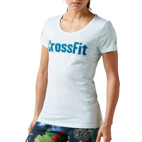 Womens Reebok CrossFit Forging Elite Fitness Tee Short Sleeve Non-Technical Tops - Mist XL