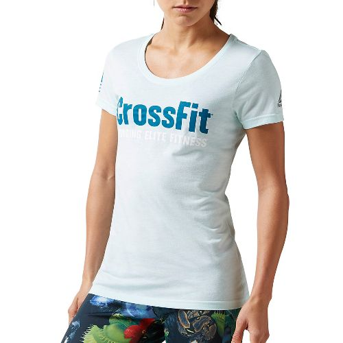 Womens Reebok CrossFit Forging Elite Fitness Tee Short Sleeve Non-Technical Tops - Mist S