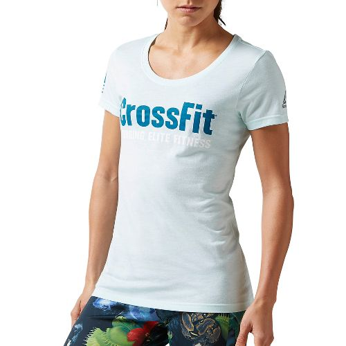 Womens Reebok CrossFit Forging Elite Fitness Tee Short Sleeve Non-Technical Tops - Pacific Purple L