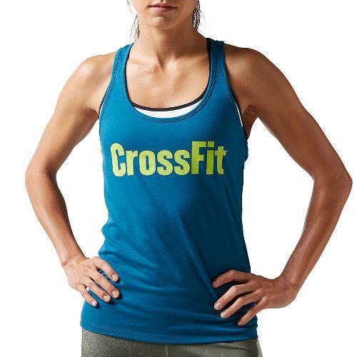 Womens Reebok CrossFit F.E.F Graphic Sleeveless & Tank Tops Non-Technical Tops - Emerald Tide M ...
