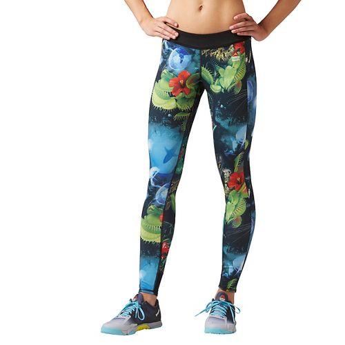Womens Reebok CrossFit Reversible Hidden Jungle Chase Tights & Leggings Pants - Black S