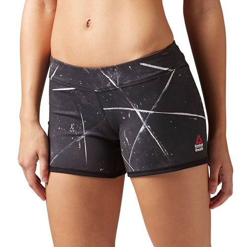 Womens Reebok CrossFit Reversible Chase Mid-Length Unlined Shorts - Black Chalk L
