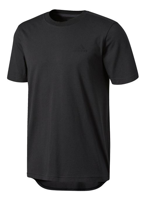 Mens adidas Essentials Droptail 3-Stripes Tee Short Sleeve Technical Tops - Black M