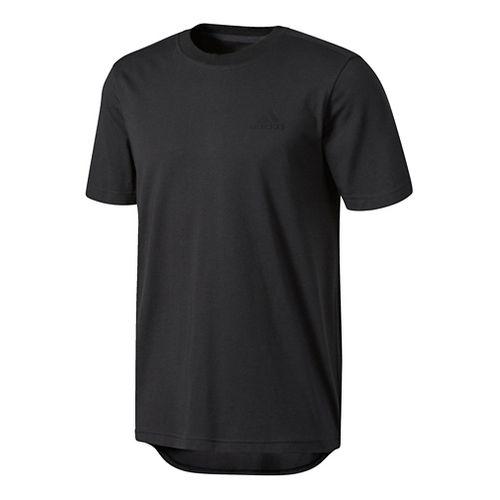 Mens adidas Essentials Droptail 3-Stripes Tee Short Sleeve Technical Tops - Black M