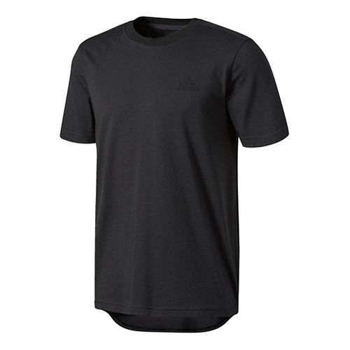 Mens adidas Essentials Droptail 3-Stripes Tee Short Sleeve Technical Tops - Black S
