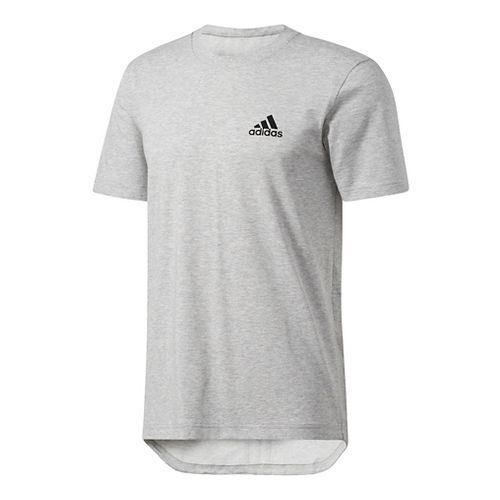 Mens Adidas Essentials Drop tail 3-Stripes Tee Short Sleeve Technical Tops - Grey/Black L
