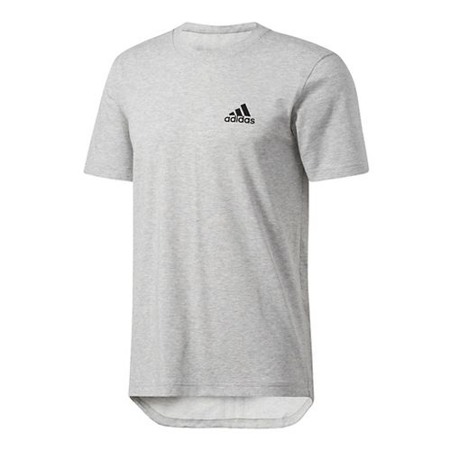 Mens Adidas Essentials Drop tail 3-Stripes Tee Short Sleeve Technical Tops - Grey/Black M