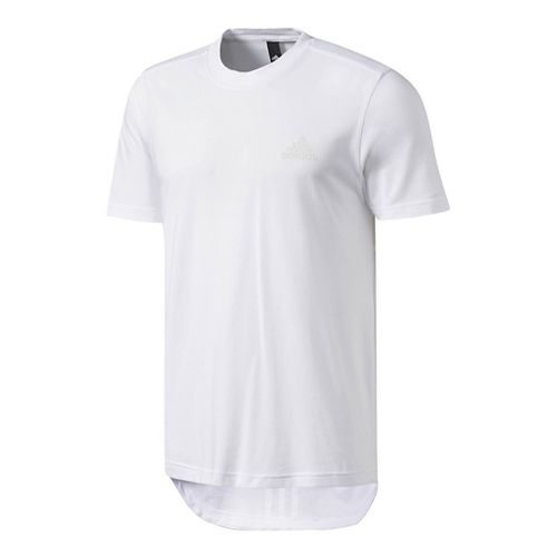 Mens Adidas Essentials Drop tail 3-Stripes Tee Short Sleeve Technical Tops - White L