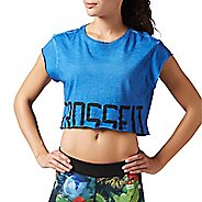 Womens Reebok CrossFit Washed Crop Tee Short Sleeve Non-Technical Tops