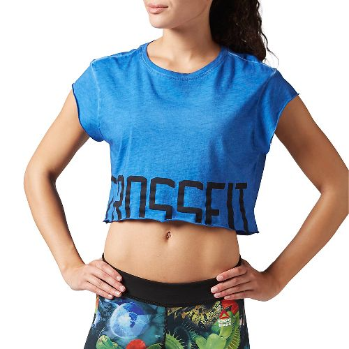 Womens Reebok CrossFit Washed Crop Tee Short Sleeve Non-Technical Tops - Blue M