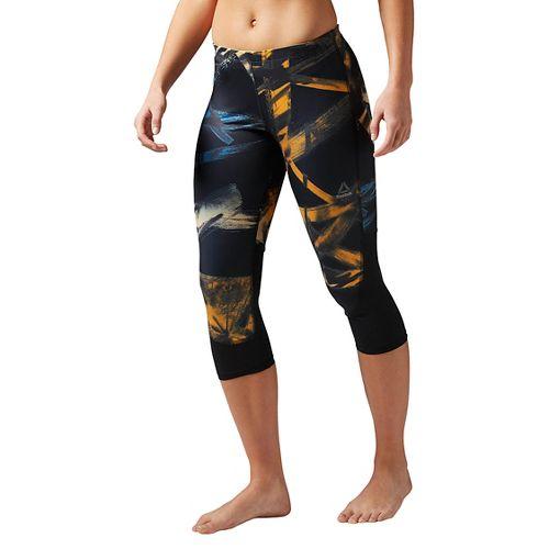 Womens Reebok Running Essentials Printed Capri Tights & Leggings Pants - Sky Blue L