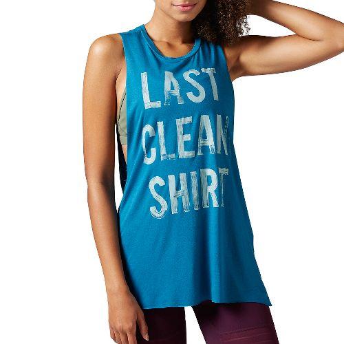 Womens Reebok Studio Favorites Muscle Sleeveless & Tank Tops Non-Technical Tops - Emerald Tide XL