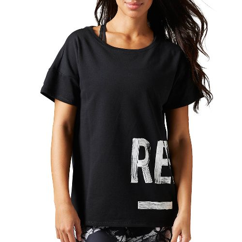 Womens Reebok Studio Favorites Tee Short Sleeve Non-Technical Tops - Black L